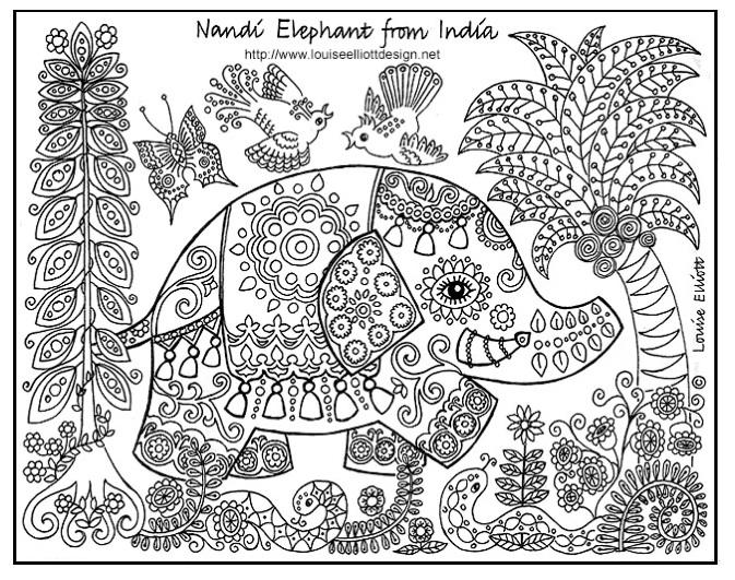Elephant Coloring Pages For Adults Print Out