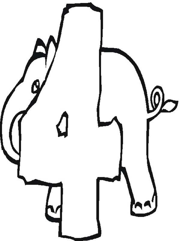 Elephant Number 4 Coloring Page