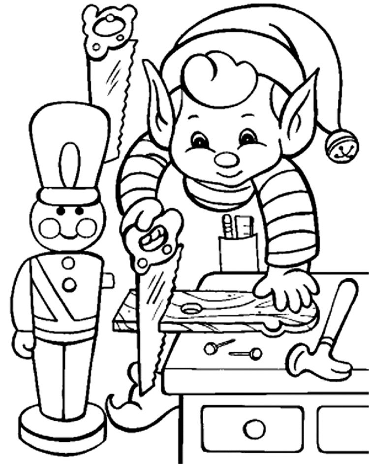 Elf Coloring Pages Making Christmas Gift