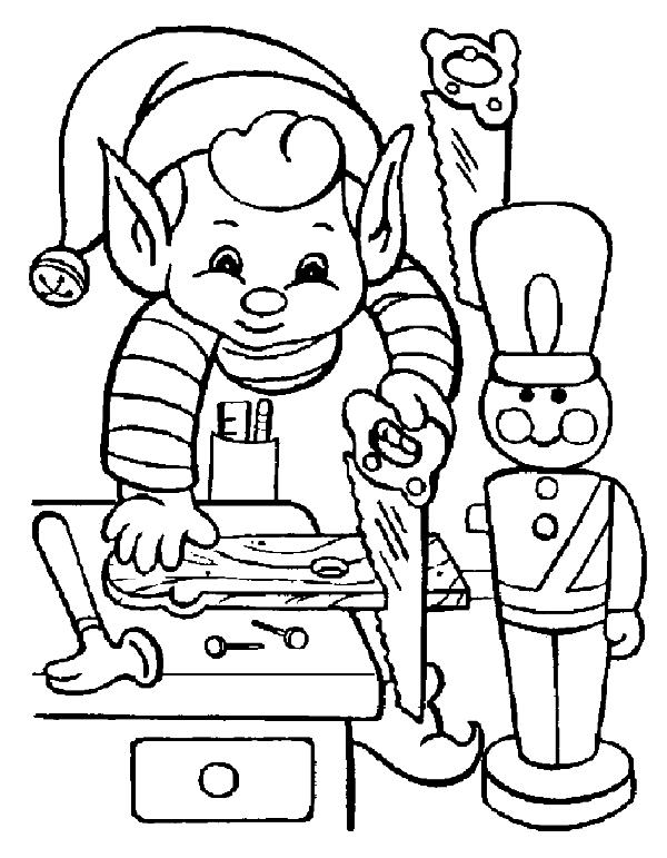 Elf On Working Of Christmas Coloring Page