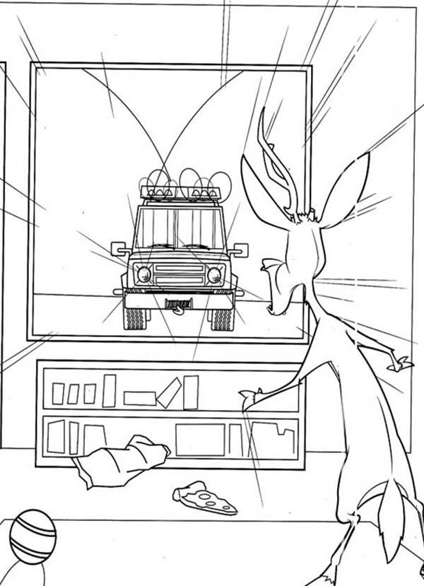 Elliot Watching Tv In Open Season Coloring Pages