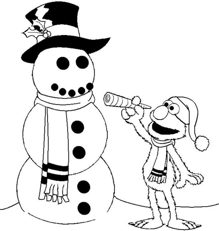 Elmo And Snowman Winter Coloring Pages For Kids
