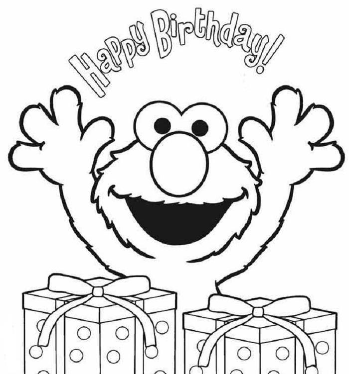 Elmo Coloring Pages Happy Birthday