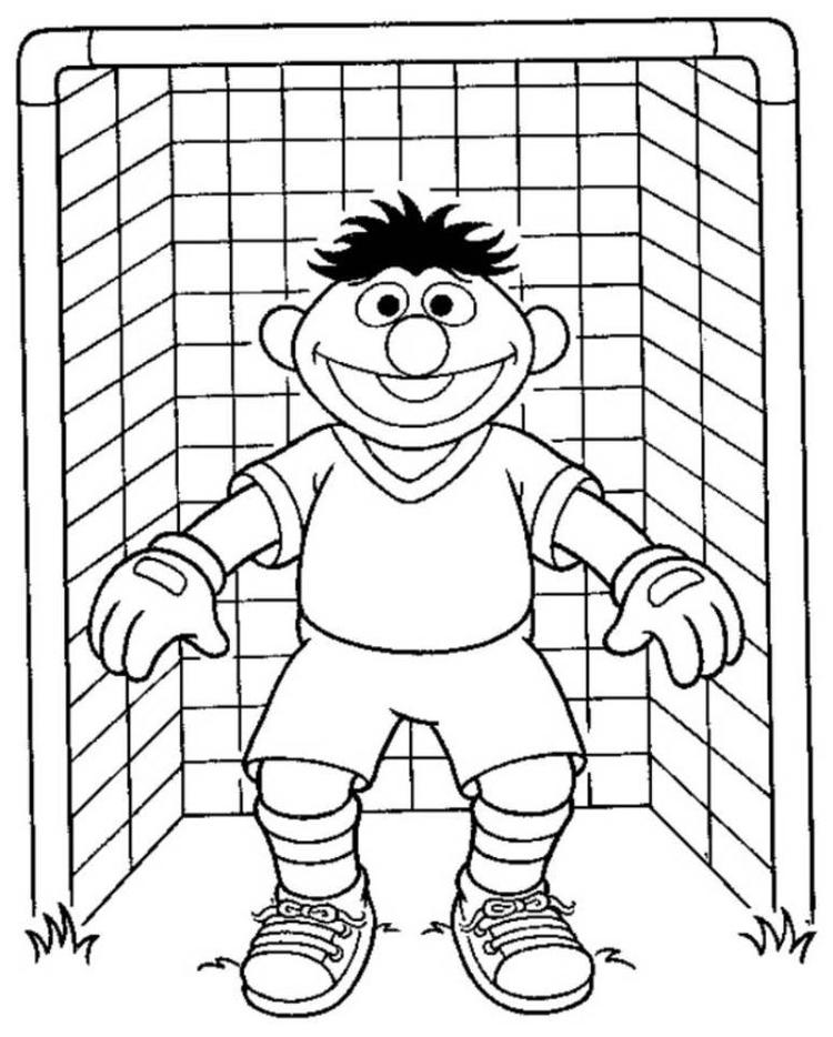 Elmo Sesame Street Goal Keeper Soccer Coloring Pages
