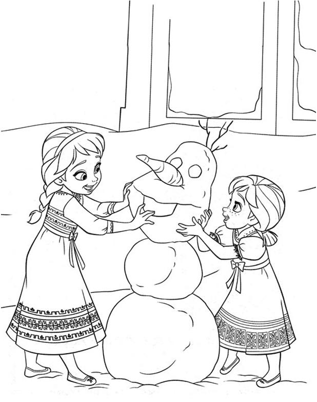 Elsa And Anna Make Olaf Coloring Pages