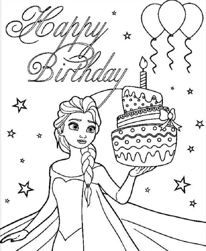 Elsa And Birthday Cake Coloring Pages