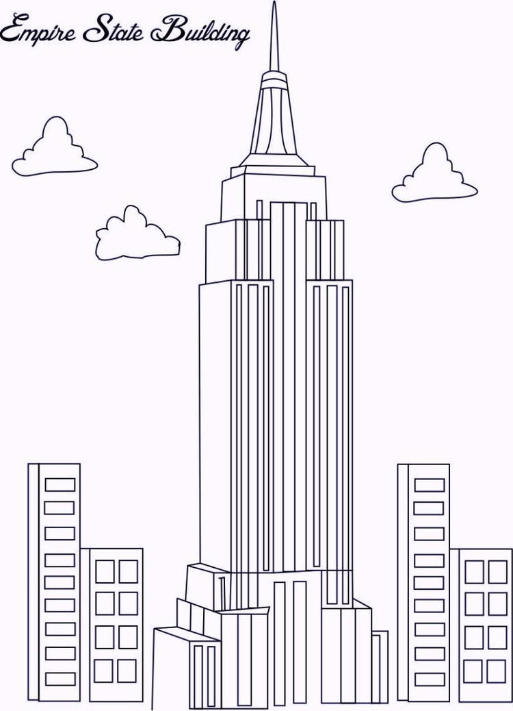 Empire State Building In New York Coloring Pages