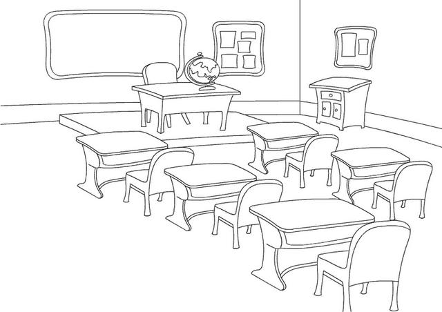 Empty Classroom Coloring Page For Kids