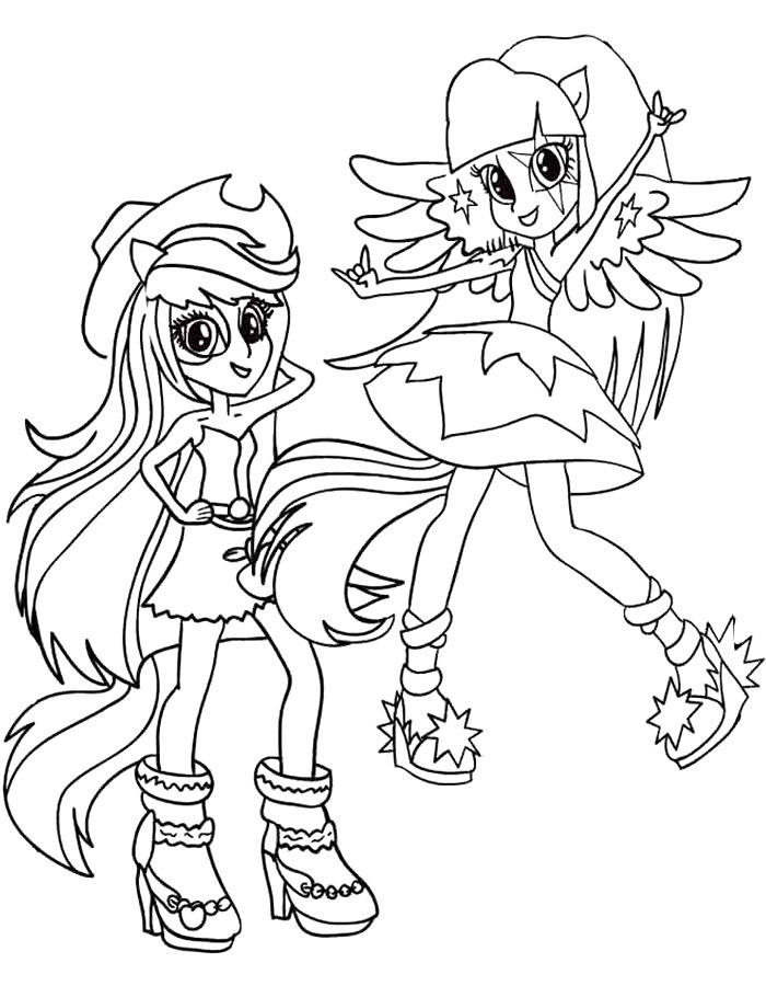 Equestria Girls Coloring Pages Applejack And Twilight Sparkle