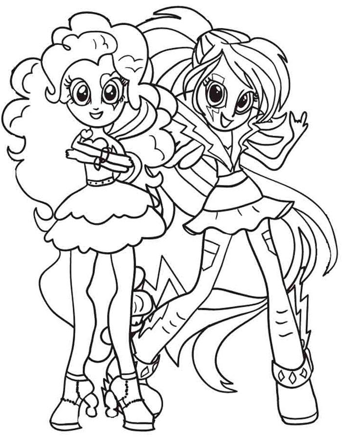 Equestria Girls Coloring Pages Pinkie Pie And Rainbow Dash
