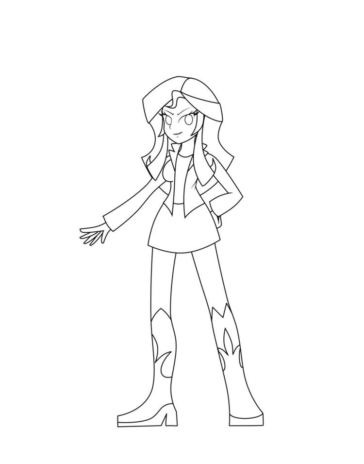 Equestria Girls Coloring Pages Sunset Shimmer