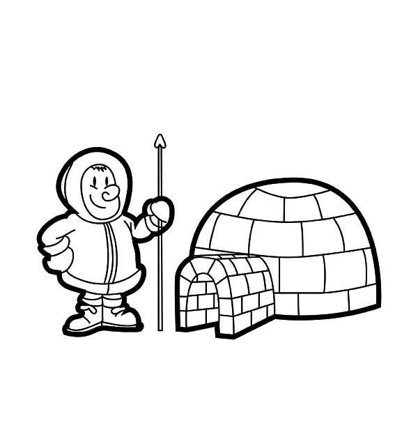 Eskimo Live In Igloo Coloring Pages