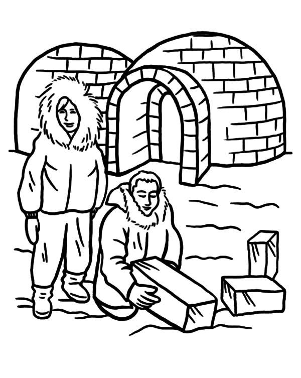 Eskimo People Building An Igloo Coloring Pages