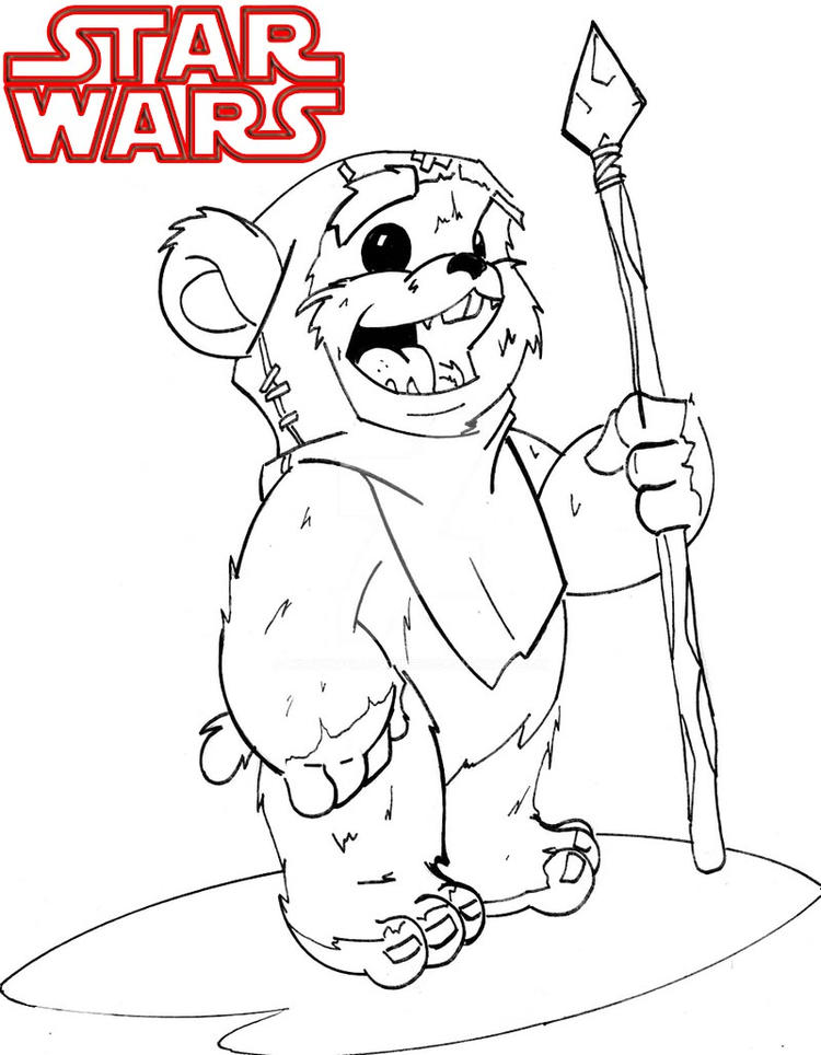 Ewok Wicket Star Wars Coloring Page