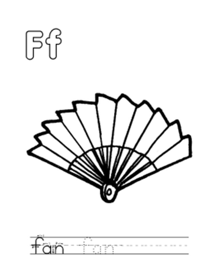 F For Fan Alphabet Coloring Pages Free