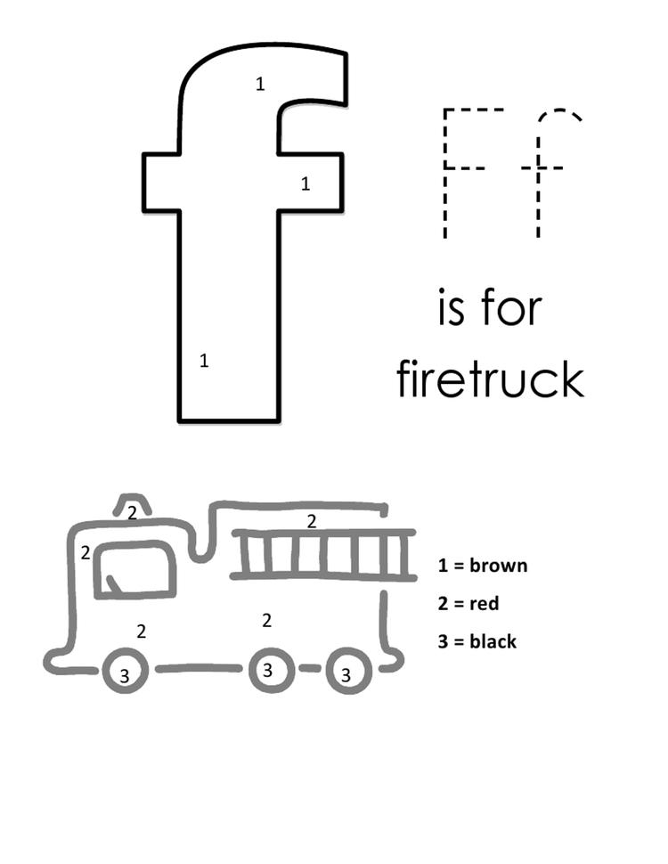 F For Firetruck Alphabet Coloring Pages Free
