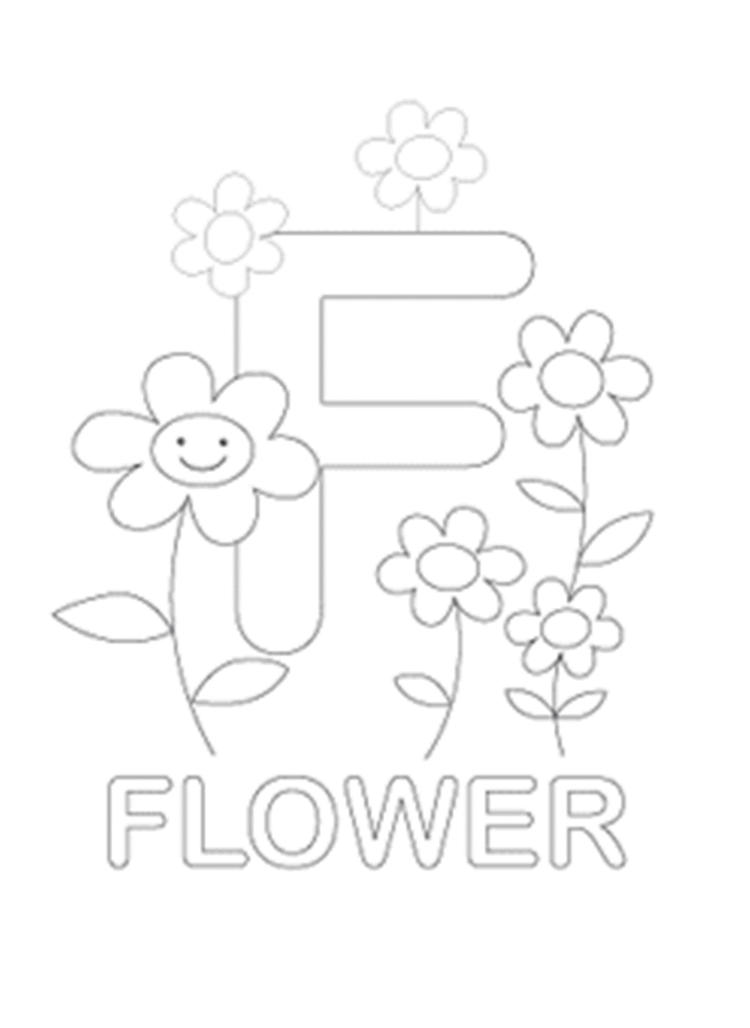 F For Flower Free Alphabet Coloring Pages