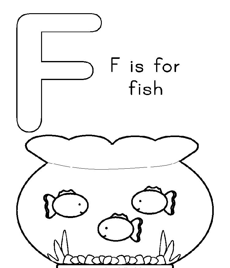 F Is For Fish Free Alphabet Coloring Pages