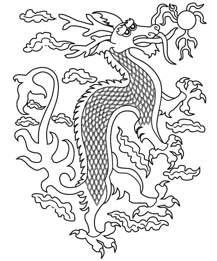 Face Chinese Dragon Coloring Pages