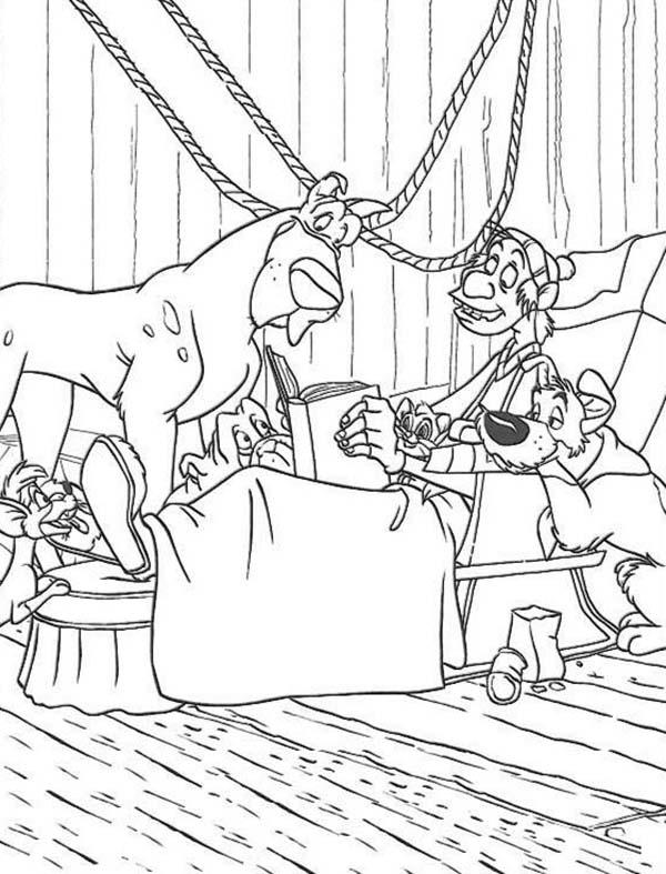 Fagin Tell Story To All Animals In Oliver And Company Coloring Pages