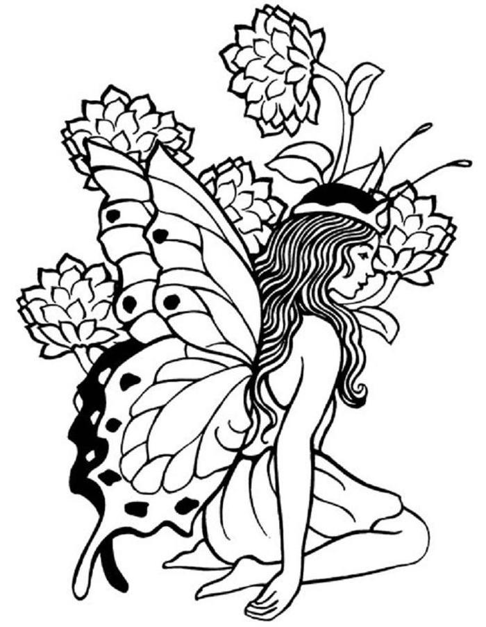 Fairy Butterfly Coloring Pages