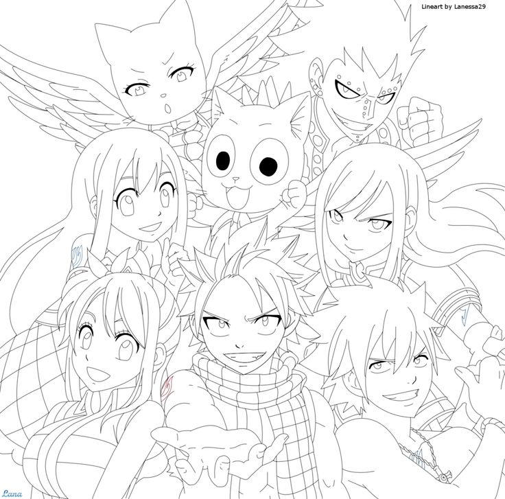 Fairy tail coloring pages all characters