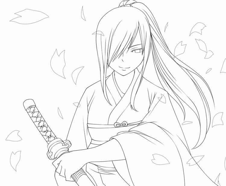 Fairy Tail Erza Scarlet Coloring Pages