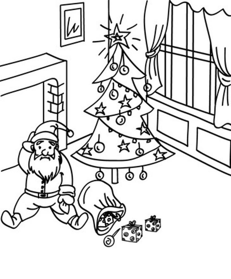 Fall Down Santa Coloring Pages For Kids Printable