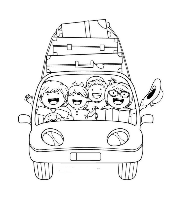 Family Car Vacation Coloring Pages