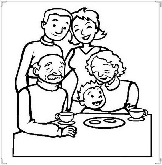 Family In Dining Room Coloring Page