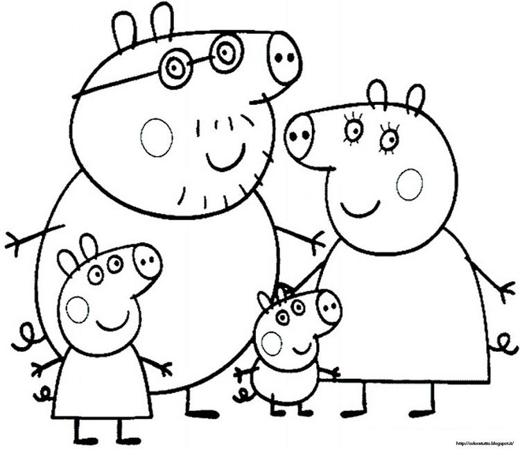 Family Peppa Pig Birthday Coloring Pages