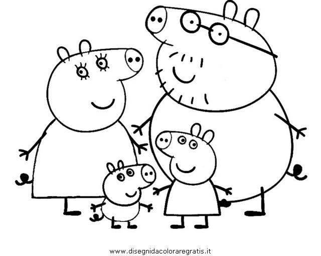 Family Peppa Pig Christmas Coloring Pages