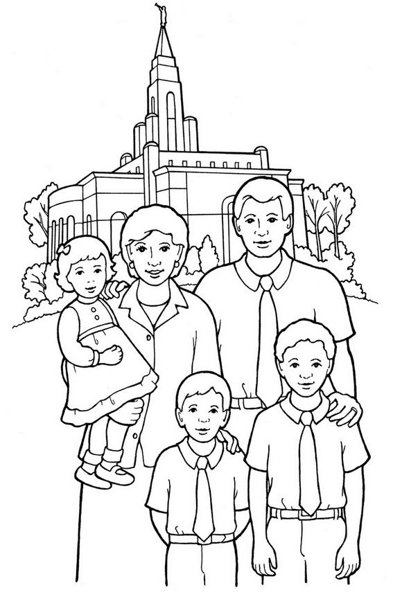 Family Photo With Landmark Background Coloring Pages