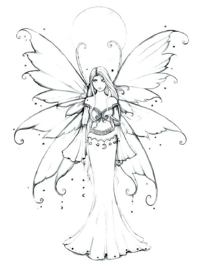 Fancy Gothic Fairies Coloring Pages