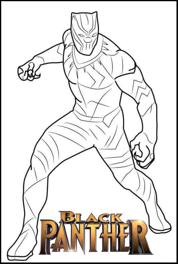 Fantastic Black Panther Coloring Page