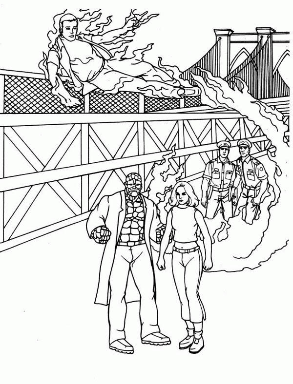 Fantastic Four At Research Facility Coloring Pages
