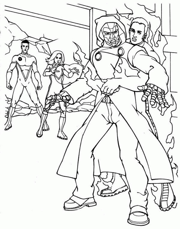 Fantastic Four Cacthing The Enemy Coloring Pages