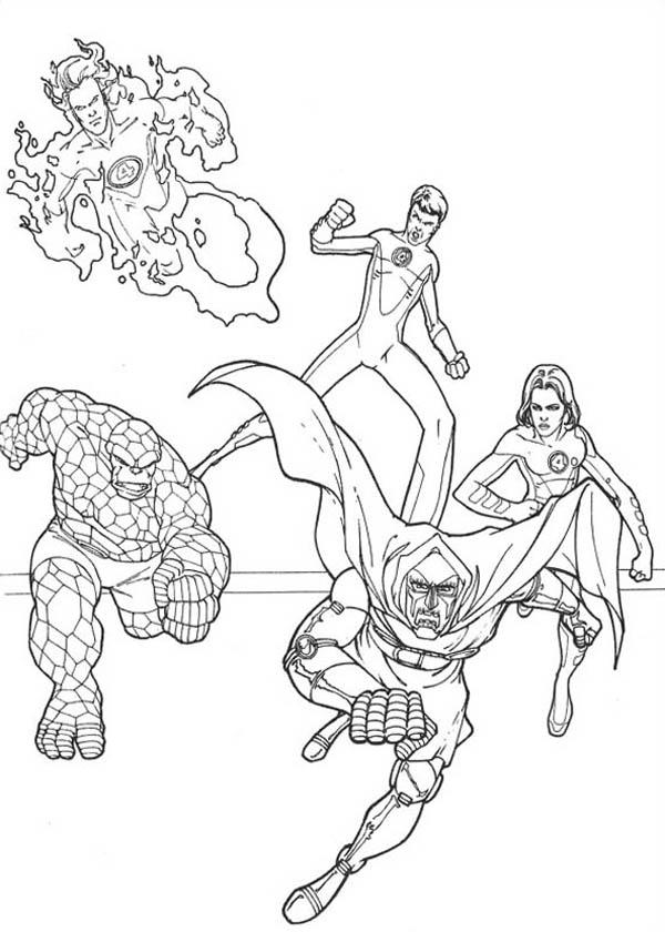 Fantastic Four Chracters Coloring Pages