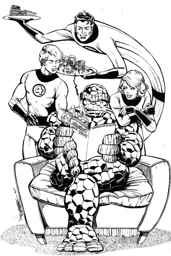 Fantastic Four Hangout Together Coloring Pages