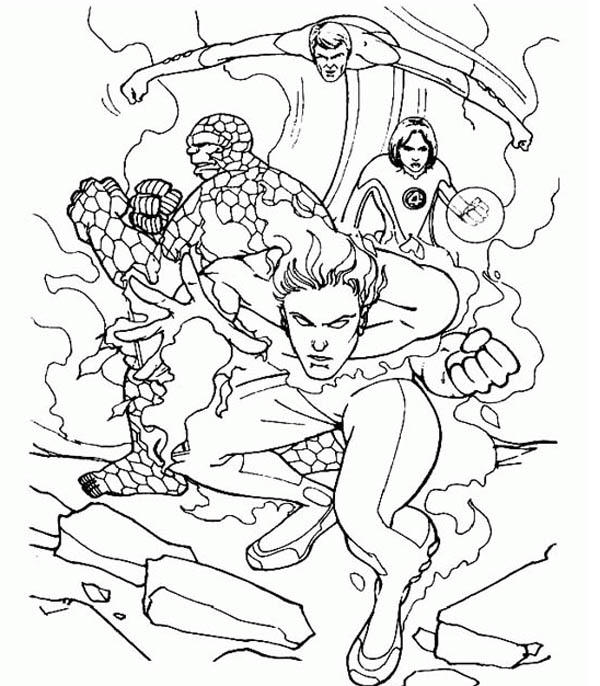 Fantastic Four Is Defending The Earth Coloring Pages