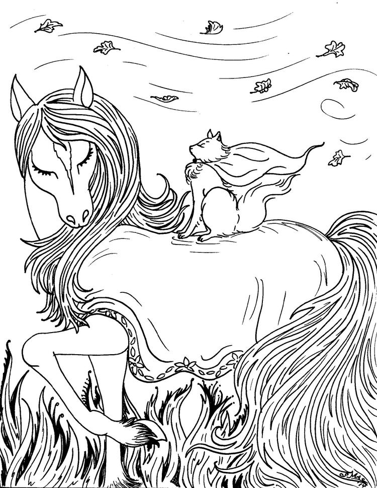 Fantasy Coloring Pages Horse And Cat
