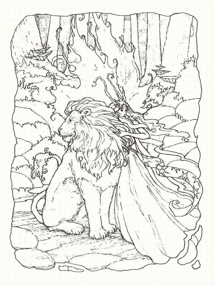 Fantasy Coloring Pages Lion And Fairy