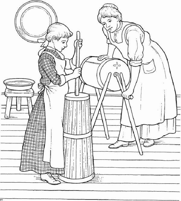 Farm Life Coloring Pages A Little Girl Helping Her Mother