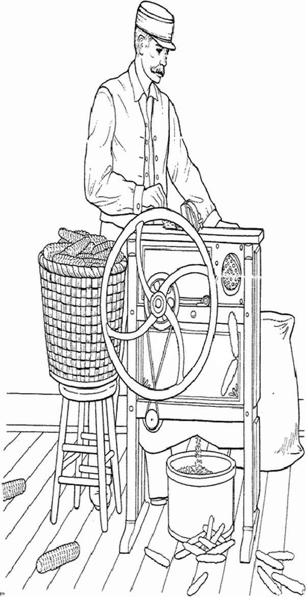Farm Life Coloring Pages Father Processing Corn Into Grain