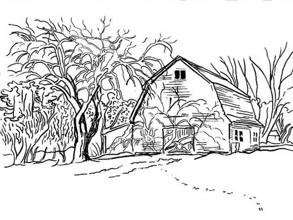 Farm Life Coloring Pages House At Village