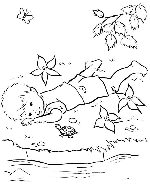 Farm Life Coloring Pages Little Boy Talk To A Turtle