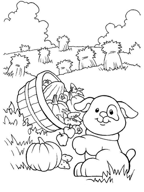 Farm Life Coloring Pages Little Dog Carrying A Basket Of Fruits