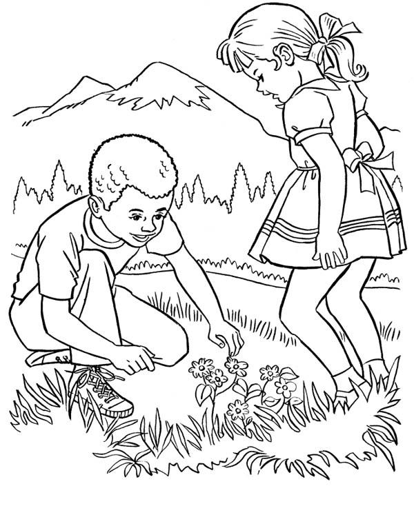 Farm Life Coloring Pages Picking Beautiful Flower