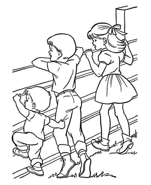 Farm Life Coloring Pages Watching Animals From Outside Fence