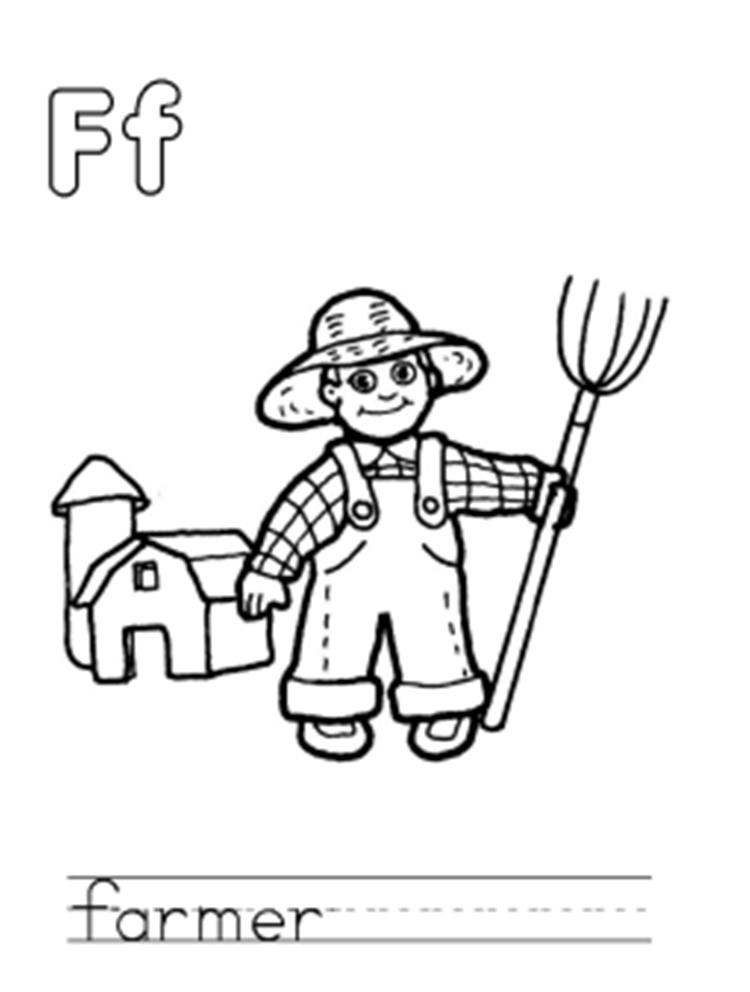 Farmer Free Alphabet Coloring Pages